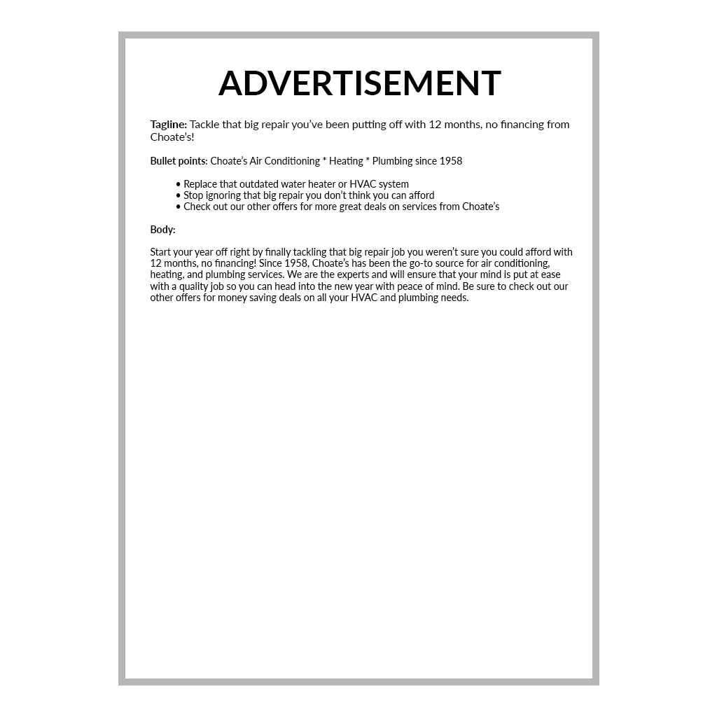 AD Written by Carrie for Eric